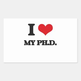 Amo mi Ph.D. Pegatina Rectangular