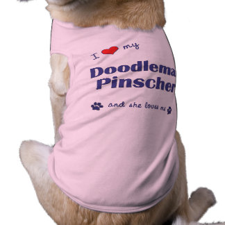 Amo mi Pinscher de Doodleman el perro femenino Camisetas Mascota