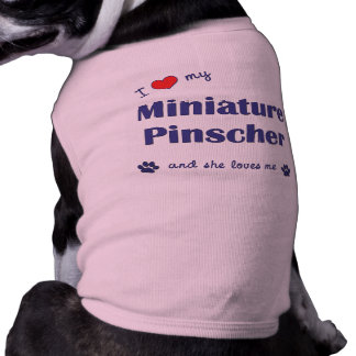 Amo mi Pinscher miniatura el perro femenino Camiseta De Perro