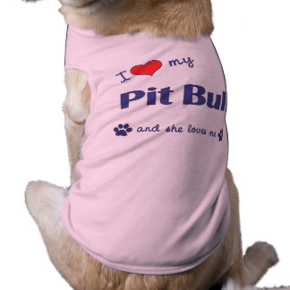Amo mi pitbull (el perro femenino) camiseta sin mangas para perro