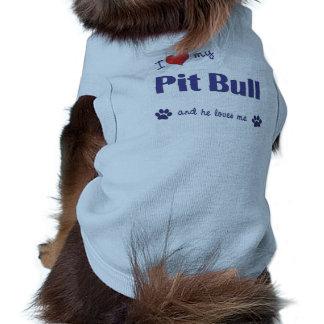 Amo mi pitbull (el perro masculino) camisetas de perrito