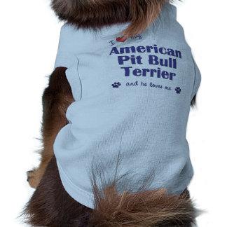 Amo mi pitbull Terrier americano (el perro masculi Camiseta Sin Mangas Para Perro