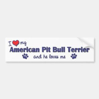 Amo mi pitbull Terrier americano (el perro masculi Pegatina Para Coche