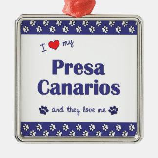 Amo mi Presa Canarios (los perros múltiples) Adorno Navideño Cuadrado De Metal