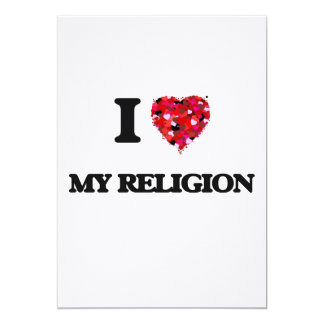 Amo mi religión invitación 12,7 x 17,8 cm