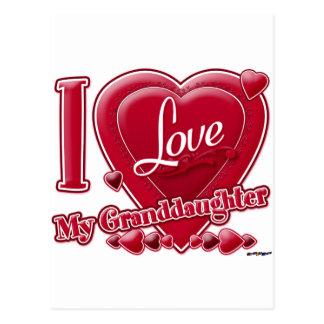 Amo mi rojo de la nieta - corazón postal