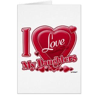 Amo mi rojo de las hijas - corazón felicitación