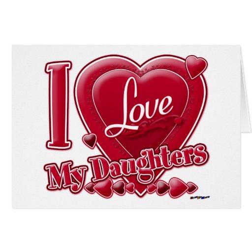 Amo mi rojo de las hijas - corazón felicitacion