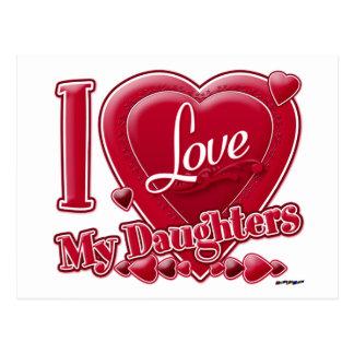 Amo mi rojo de las hijas - corazón postal