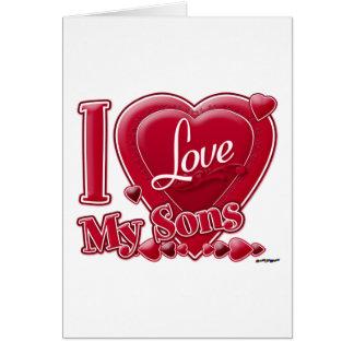 Amo mi rojo de los hijos - corazón felicitación