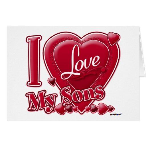 Amo mi rojo de los hijos - corazón tarjetas