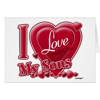 Amo mi rojo de los hijos - corazón tarjeta de felicitación