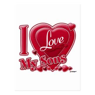 Amo mi rojo de los hijos - corazón postal