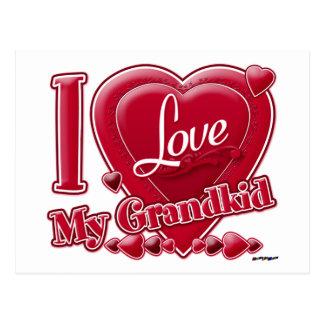 Amo mi rojo de los nietos - corazón postales