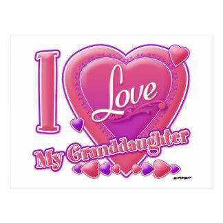 Amo mi rosa/púrpura - corazón de la nieta postal