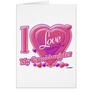 Amo mi rosa/púrpura - corazón de la nieta tarjeta de felicitación