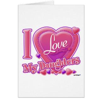 Amo mi rosa/púrpura - corazón de las hijas tarjeta