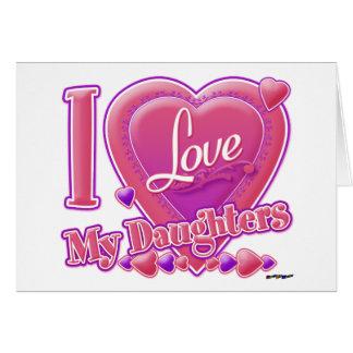 Amo mi rosa/púrpura - corazón de las hijas tarjeta de felicitación