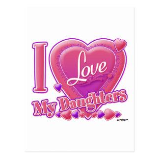 Amo mi rosa/púrpura - corazón de las hijas tarjetas postales