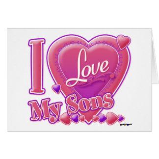 Amo mi rosa/púrpura - corazón de los hijos felicitacion