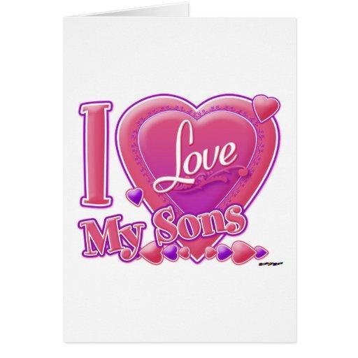 Amo mi rosa/púrpura - corazón de los hijos felicitación