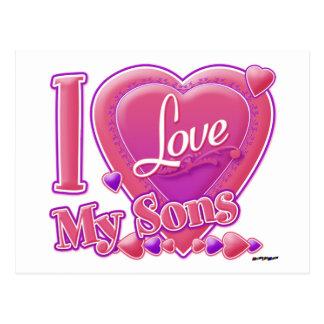Amo mi rosa/púrpura - corazón de los hijos postal