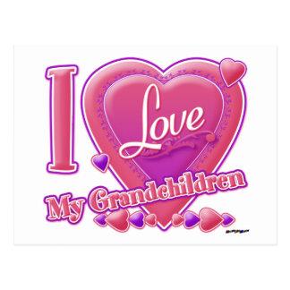 Amo mi rosa/púrpura - corazón de los nietos postal