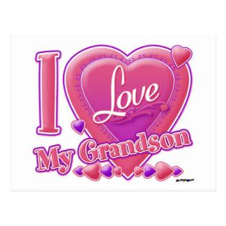 Amo mi rosa/púrpura - corazón del nieto postal