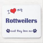 Amo mi Rottweilers (los perros múltiples) Tapetes De Raton