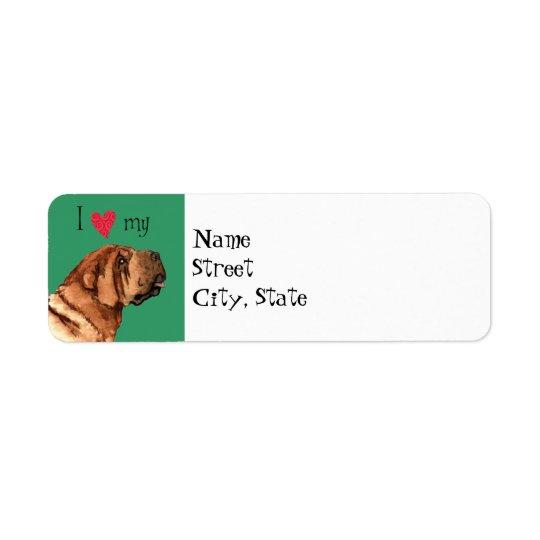 Amo mi Shar-Pei chino Etiquetas De Remite