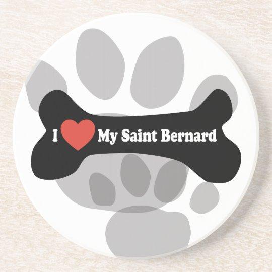 Amo mi St Bernard - hueso de perro Apoyavasos