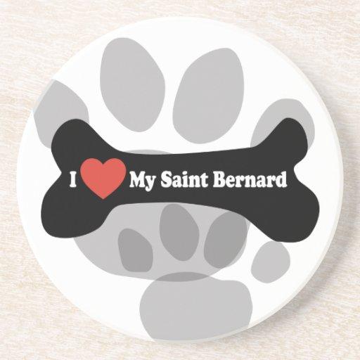 Amo mi St Bernard - hueso de perro Posavasos Personalizados