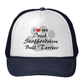 Amo mi Staffordshire irlandés bull terrier Gorros Bordados