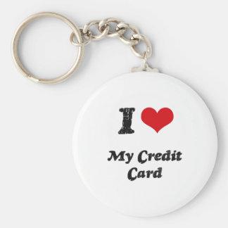 Amo mi tarjeta de crédito llavero redondo tipo chapa