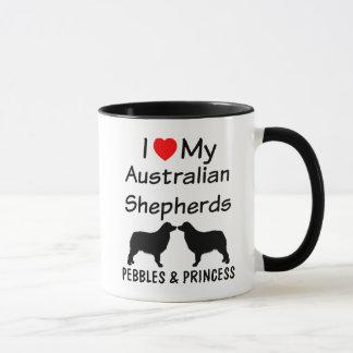 Amo mi taza de café australiana de DOS pastores
