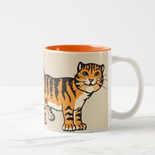 AMO mi taza de café del Tabby del dibujo animado