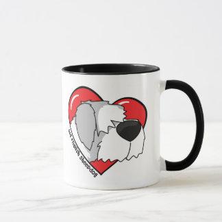 Amo mi taza inglesa vieja del perro pastor