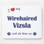 Amo mi Vizsla Wirehaired (el perro femenino) Tapetes De Raton