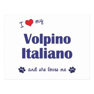 Amo mi Volpino Italiano (el perro femenino) Tarjetas Postales