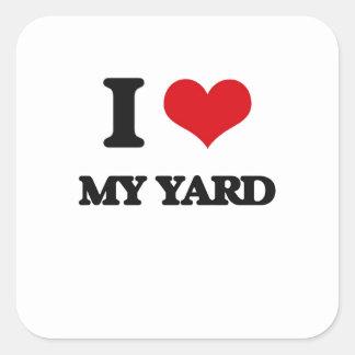 Amo mi yarda pegatina cuadrada