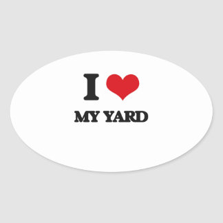 Amo mi yarda pegatina ovalada