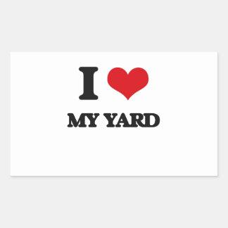 Amo mi yarda pegatina rectangular