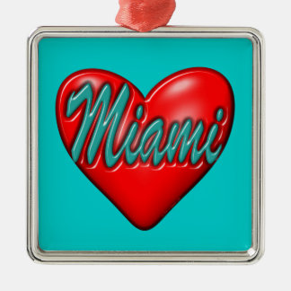 Amo Miami Adorno Navideño Cuadrado De Metal