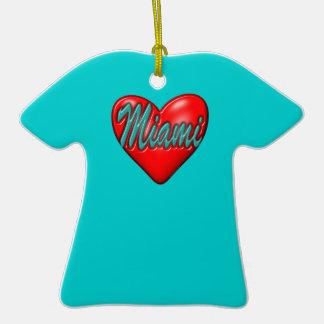 Amo Miami Adorno Navideño De Cerámica En Forma De Camiseta
