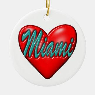 Amo Miami Adorno Navideño Redondo De Cerámica