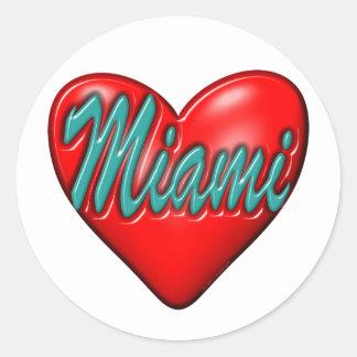 Amo Miami Pegatina Redonda