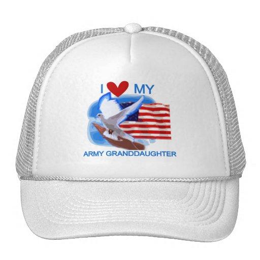 Amo mis camisetas y regalos de la nieta del ejérci gorras de camionero