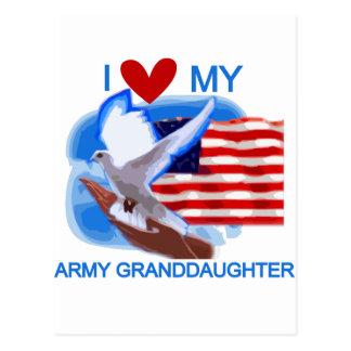 Amo mis camisetas y regalos de la nieta del ejérci postales