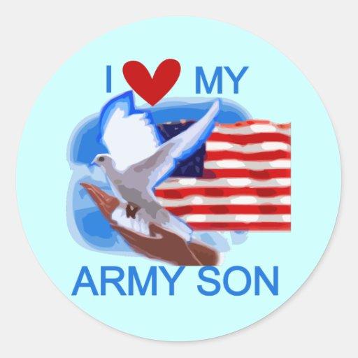 Amo mis camisetas y regalos del hijo del ejército pegatinas redondas