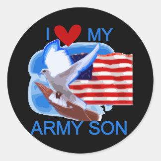 Amo mis camisetas y regalos del hijo del ejército pegatina redonda